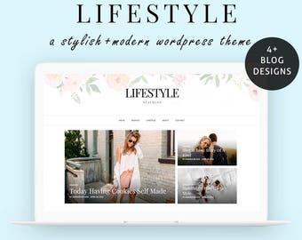 Wordpress Theme - Wordpress Blog Theme - Wordpress Theme Responsive - Feminine Lifestyle Wordpress  Blog Template - Instant Download