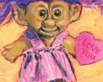 Love You- Matted print of an original acrylic painting by Greta Watkins