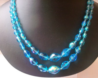 Gorgeous iridescent blue crystal bead double strand necklace with AB clasp
