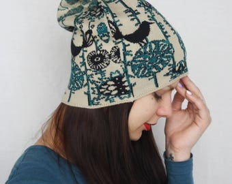 Jersey knit hat Shiny hat Birds beanie Knit jersey beanie Beige green warm winter hat Stretch beanie Comfortable hat Original fabric hat