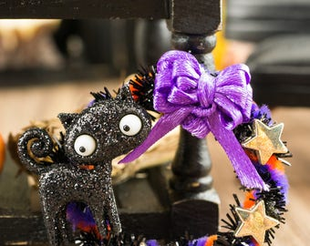 Black Cat Halloween Wreath - 1:12 Dollhouse Miniature