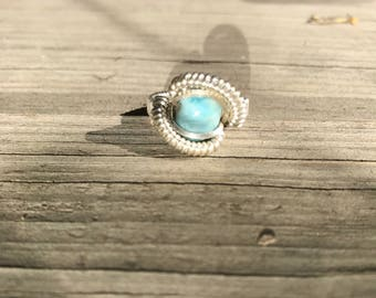 Larimar .925 Sterling Silver Wire Wrap Ring