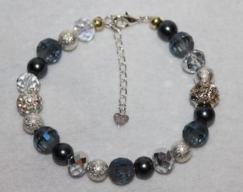 Denim Blue Crystal and Pearl Bracelet