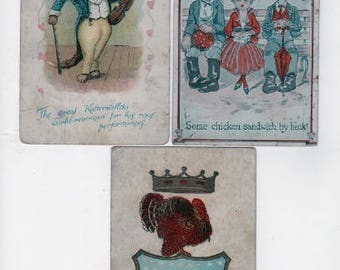 3 antique novelty postcards. Funny joke postcards. Katterwallski, Chicken Sandwich, American Turkey. Instant collection for collage, display