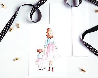 Mother Daughter Print, Fashion Illustration, Watercolor Print, Small Art Print, Greeting Card, Home Decor, Gifts for Her, Gifts for Mom