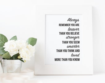 Black Wall Print / Framed Print / Typography Print / A4 Print / Inspirational Quote