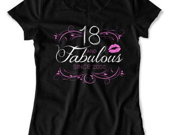 18th Birthday Shirt Personalized Birthday Gifts For Her Custom T Shirt Bday Present B Day 18 Years Old And Fabulous Ladies Tee DAT-1562