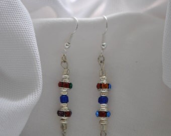 Sterling Silver Earrings    Multi Color Crystal     Handmade