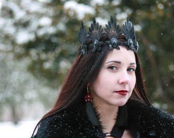 Evil Queen Crown Birthday Crown Black Sexy Fascinator Black Tiara Cosplay Crown Black Lace Crown Headpiece Gothic Headpiece Swan Crown