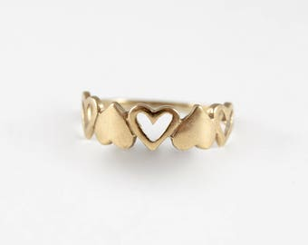 Gold Heart Band Ring, Solid and Open Heart Ring, 9ct Yellow Gold Ring, 80s Gold Ring, Hallmarked Gold Ring
