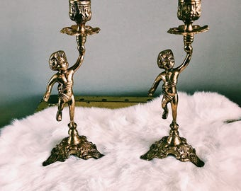 Vintage Pair of Brass Cherub Candlestick Holders / Brass Candlestick Holders