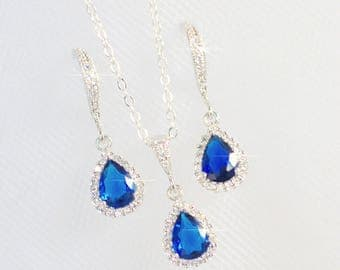 Handmade Delicate Classic Sapphire Blue Cubic Zirconia CZ Teardrop Halo Dangle Bridal Earrings and Necklace Set, Wedding (Sparkle-2348)