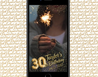 30th Birthday Geofilter 30th Birthday Snapchat 30th Party Filter 30th bday snap Birthday Party Gold Geofilter Custom Snapchat Banner Digital