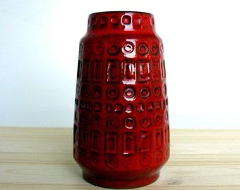 "70s / West Germany / Scheurich Vase / Fat Lava Vase / Modernist / Geometric / 260 18 / Inka Pattern / Red / Pottery Vase / Mid Century / 7"""