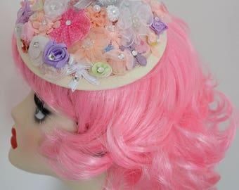 Pillbox Hat Fascinator Romantic Millinery Bibi Fleurs Flowers