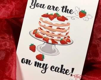 Valentines Card, Strawberry Cake, Strawberry Lover, Valentines Day Love, Cute, Couples, Engagement, Kids Valentines Day, Food, Dessert