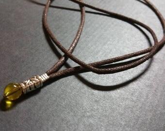 Natural Citrine Quartz necklace Mens stone necklace, long rope surfer necklace