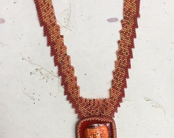 Step into Autumn Necklace, Dichroic Glass Necklace, Beaded Necklace, Peyote Stitch Necklace, Autumn Necklace, Geometric Necklace, Fall Color