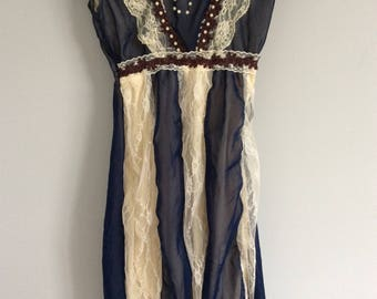 Lace Dress  blue and ivory
