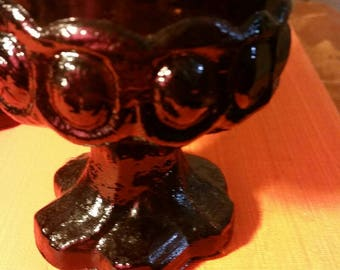 Tiffin Franciscan Madeira Heavy Stemmed ornate brown retro 5 pc set glassware
