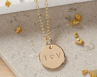 Gold Initials Necklace, Solid Gold Heart Necklace,  Personalised Gold Heart Necklace, Anniversary Gift, Girlfriend Gift, Wedding Necklace