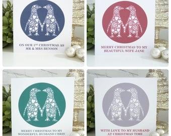 Personalised Kissing Penguins Christmas Card, Christmas card for Wife, 1st Christmas as Mr & Mrs Card, Christmas card for Husband