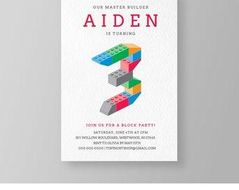 Master Builder Birthday Invitation | Printable 3rd Birthday Block Party | Building Bricks | DIY Editable Template | Instant Download #037BBD