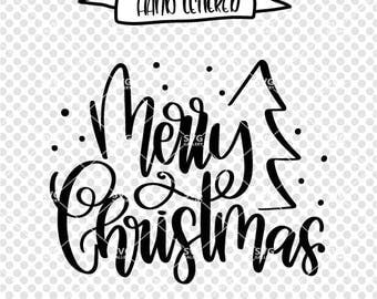 Merry Christmas svg, Christmas SVG, Digital cut file, winter svg, Merry Christmas svg, christmas tree svg, hand lettered, commercial use OK