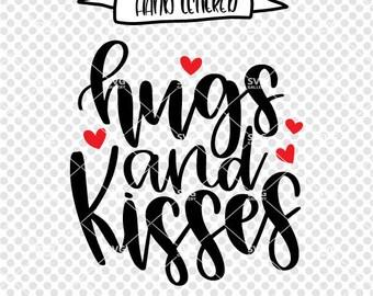 Hugs and kisses svg, Valentine's Day SVG, kiss svg, hug svg, love svg, Digital cut file, heart svg, Valentine's svg, commercial use OK