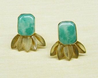 Gift For Her- Emerald Shape Leafy Earrings- You Pick Your Color- Antique Gold Polish- DH8joolry