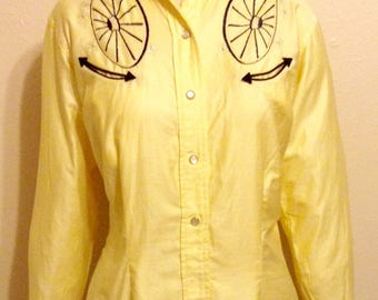 1950s/1960s Vintage H Bar C Ranchwear Ladies Embroidered Western Shirt - Size 36/Small