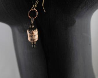 1st anniversary idea, unusual earrings, newspaper bead earrings, Eco-friendly gift, drop earrings made from Financial Times
