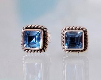 Blue Topaz Stud Earrings, November Birthstone Sterling Silver Earrings, Square Earrings, Nautical Earrings, Rope Jewelry, Blue Earrings