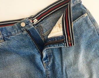 Vintage Tommy Hilfiger Blue Denim Skirt // Retro Designer Denim Bottoms // Mid Length Skirts // Upcycled Clothing