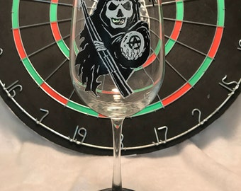 Sons of Anarchy Reaper Wine Glass Skull Candy Black and White Gift for Her Him SOA Jax Old Lady Zombie