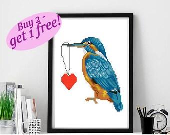 Kingfisher cross stitch pattern modern, Love bird cross stitch pattern PDF, heart cross stitch pattern