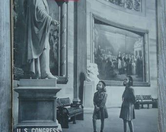 Vintage Magazine - 1945 - US Congress - American decor - Vintage Government - Vintage child photo - Vintage child image - Paper Ephemera, US
