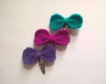Bow hair clips Pink Purple Teal snap clips SALE
