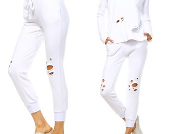 Chic White Sweatpants, Fashion Sweatpants, Womens Sweatpants, Womens White Sweatpants
