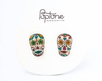 Sugar skull earrings, Mexican Day of the Dead earrings, calaveras earrings, Halloween jewelry, skulls