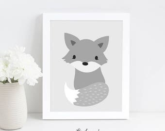 Woodland Nursery Wall Art, Fox Print, Baby Shower Gift, Scandinavian Print, Digital Download Art, Nursery Printable Art, Kids Wall Art Print