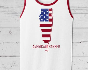 Celebrate the fourth of July in this American Barber Flag Clipper Tank Top, Barber, Gift for Him