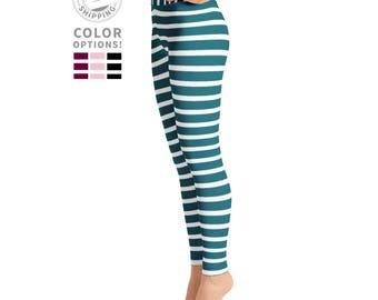 Black & White Striped Leggings | Workout Leggings | Yoga Pants | Athletic Leggings | Gym Leggings | Yogawear | Yogagear | Loopy Jayne