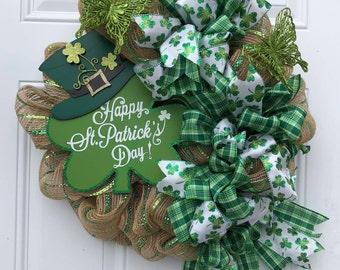 Happy St. Patricks Day Wreath, St Patricks Day, Shamrock Wreath, Holiday Wreath, Clover Wreath, Lucky Wreath, Irish Wreath,