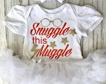 Snuggle this Muggle Harry Potter Themed White tutu romper with bow headband, Baby Girl, Halloween Costume, Princess, Cute, Magic, Gold Love