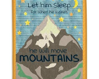 Baby Quilt, Boy Quilt, Nursery Decor, Kid's Room, Mountains, Saying Quilt - Let Him Sleep Quilt