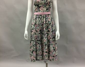 1980's Does 1950's Floral Dress with Matching Jacket | Made by Lang | Size Small  | Pin Up | Rockabilly
