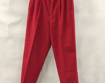 80's Red High Waisted Pleated Tapered Leg Pants | Size | Fundamental Things