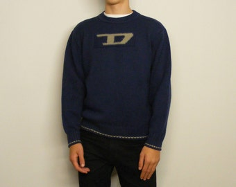 Vintage DIESEL Sweater Size Large L in Dark Blue