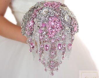 Silver Wedding Bouquet Rhinestones Bouquet Bridal Brooch Bouquet Quinceanera Bouquet Keepsake Bouquet Dress Wedding Jewelry Pink Bouquet